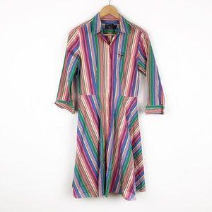 Vintage Rainbow Stripe Midi Shirtdress Long Sleeve